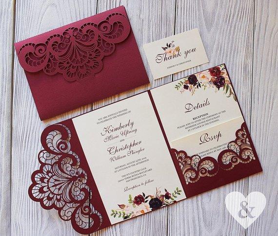 Burgundy Pocket Wedding Invitation Kit