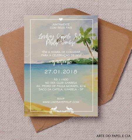A78  Convite De Casamento Praia Coqueiros