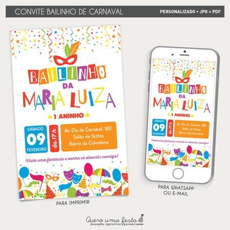 Convite Bailinho De Carnaval