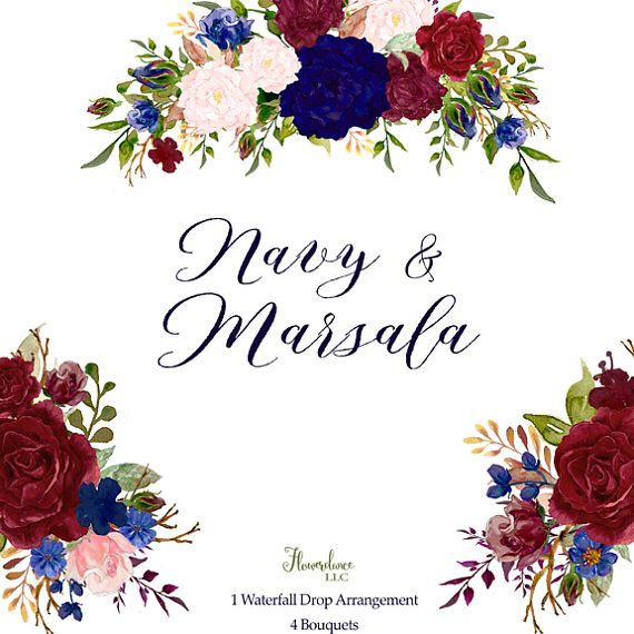 Navy And Marsala Watercolor Floral Clipart Bouquets And Drop