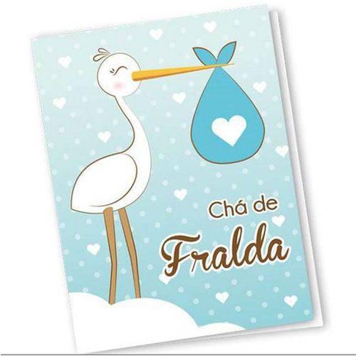 Convite Cha De Bebe Fraldas Cegonha Azul C 10un Regina Festas Pct