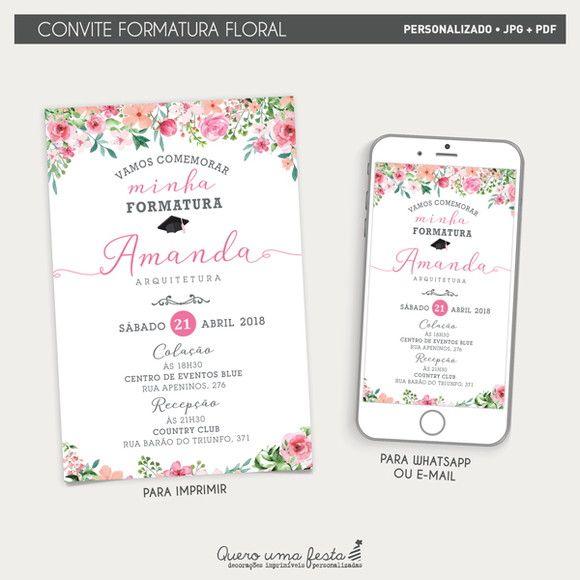 Arquivos Digitais Arte De Convite Para Festa Formatura Floral