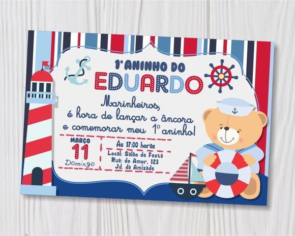 Convite Ursinho Marinheiro Impresso  Material  Papel Fotográfico