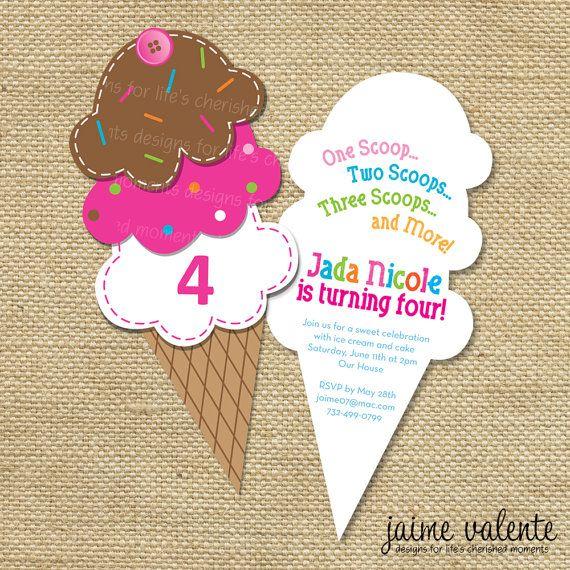 Ice Cream Cone Birthday Invitation By Jaimevalente On Etsy, $15 00