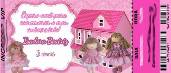 50 Convite Ingresso Boneca De Pano Personalizado Aniversário