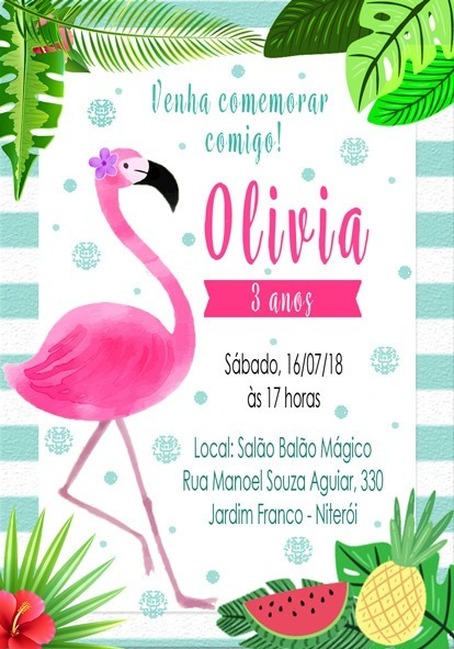 50 Convites Flamingo Personalizado + Envelope