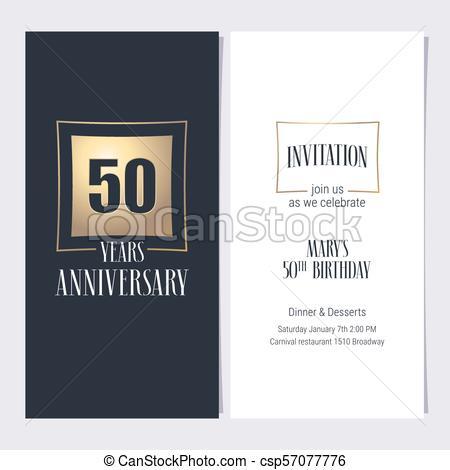50, Vetorial, Anos, Aniversário, Convite  Dourado, Gráfico