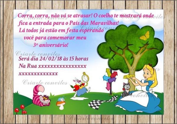 Convite Aniversário Infantil Alice No País Das Maravilhas   Por