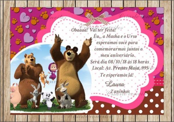 Convite Aniversário Infantil Masha E O Urso   Por Criarte Convites