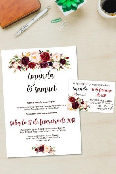 Convite Marsala Floral Editavel Word □ Clique No Pin E Visite O