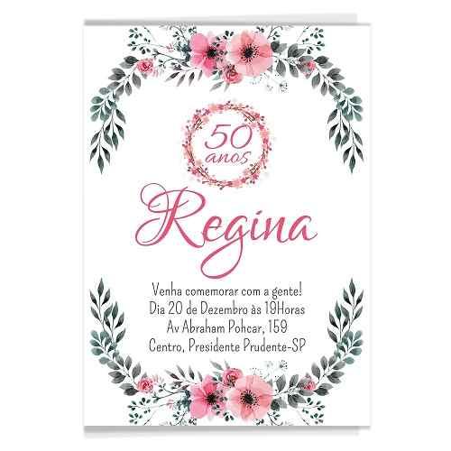60 Convites Aniversário Adulto Florais Floral