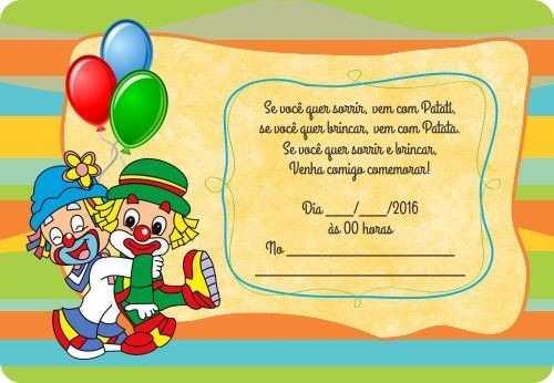 60 Convites Simples Infantil Aniversário Patati Patata