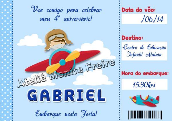 Convite Aniversário Passagem Aérea Menino Avião
