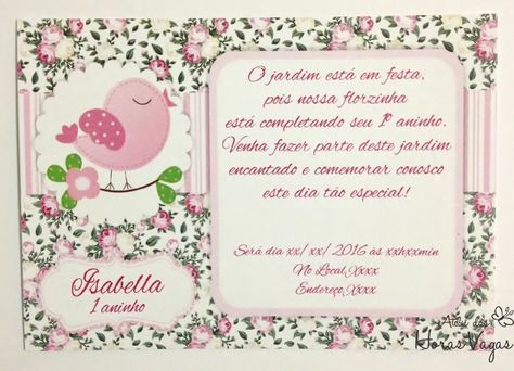 Convite Aniversário Artesanal Infantil Personalizado Jardim