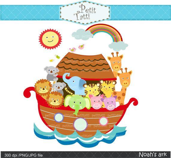 Noah Ark Digital Clipart, Noah Ark Scene Clipart