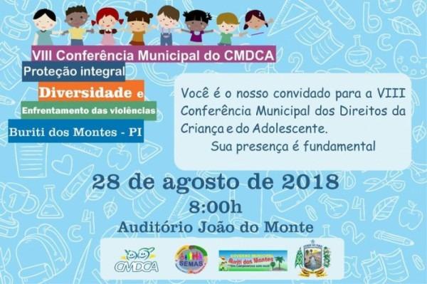 Convite  Viii Conferência Municipal Dos Direitos Da Criança E Do