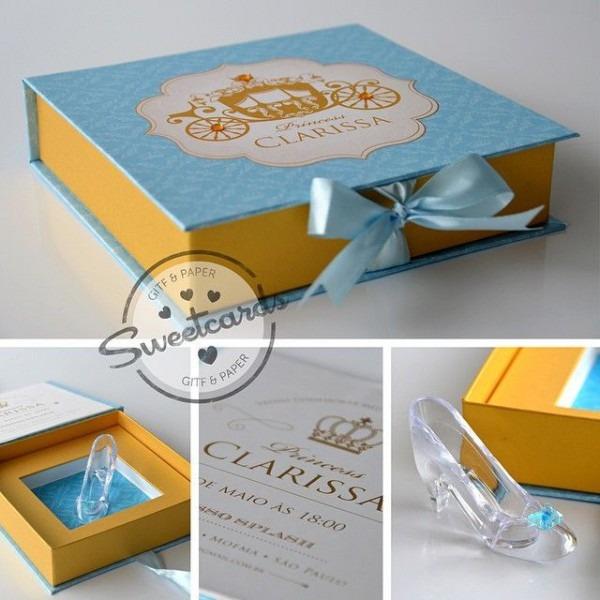 Convite Cinderela Super Luxo Impresso Em Papel Perolizado Com