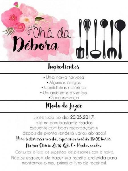 Convite Branco, Com Escritas Em Preto E Detalhes Rosas