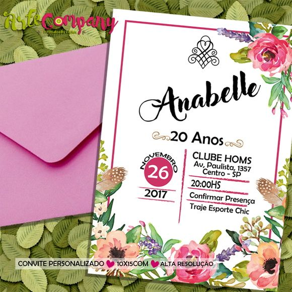 Convite Aniversário Floral