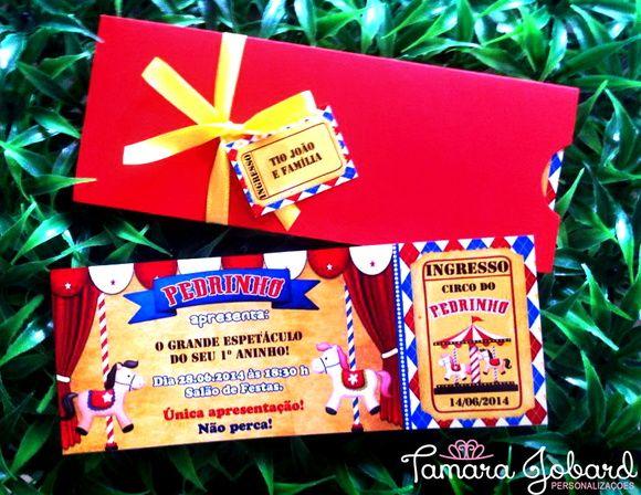 Convite 6x16 Cm Tipo Ingresso, Acompanha Envelope, Laçoe Tag! Pode