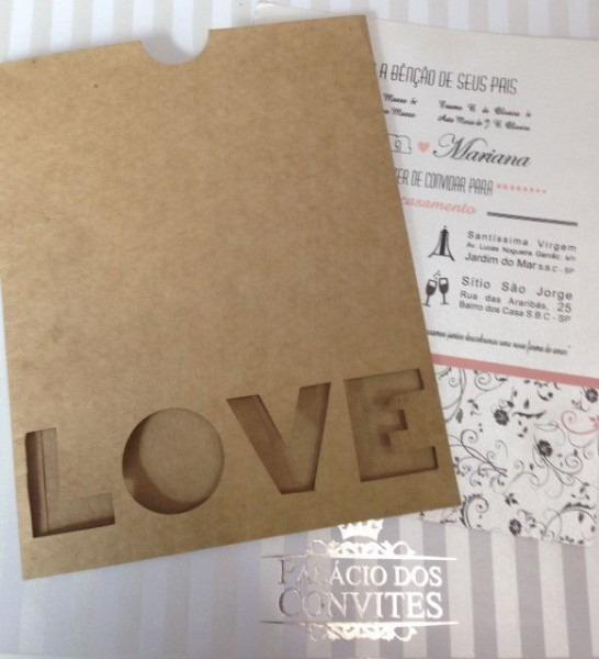 Envelope Papel Kraft Natural 180 Grs Com Love Vazado  Br  Convite