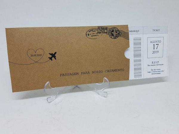 Convite Casamento Passagem Passaporte