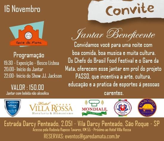 Convite  Jantar Beneficente Em Prol Do Projeto Passo