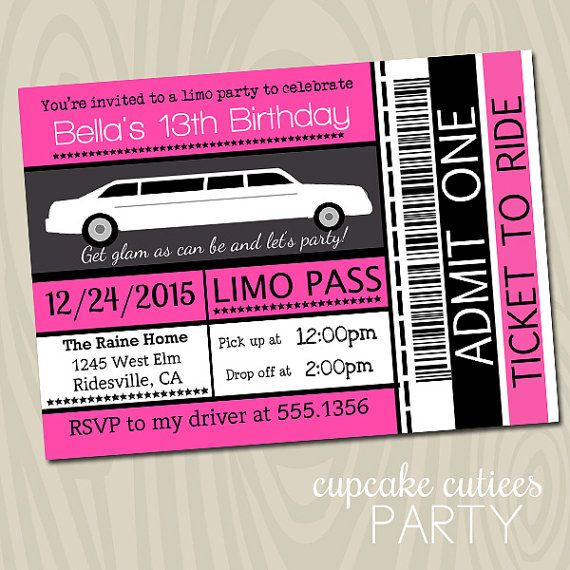 Limo Ticket Full 5x7 Or 4x6 Invite By Cupcakecutieesparty