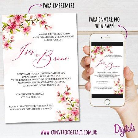 Convite Casamento Rosa Florido Cerejeira