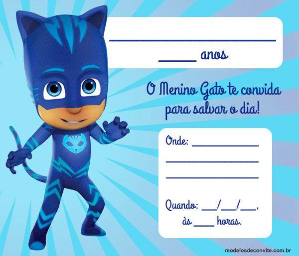 42 Convites Pj Masks Com O Menino Gato, Lagartixo E Corujita