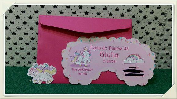 Convite Festa Do Pijama Unicórnio