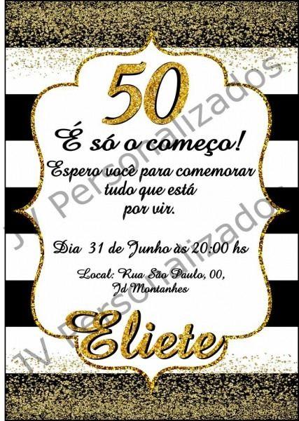 Convite De Aniversario 50 Anos Para Editar