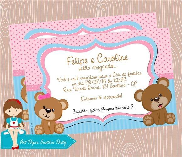 Arte Convite Chá De Bebê Gêmeos No Elo7