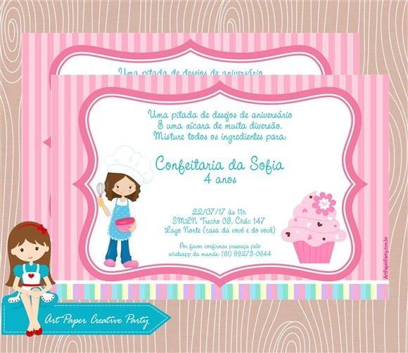 Arte Convite Confeitaria No Elo7