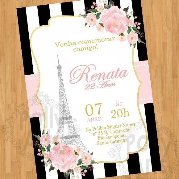 Arte Convite Digital Virtual Paris Floral Torre Eiffel