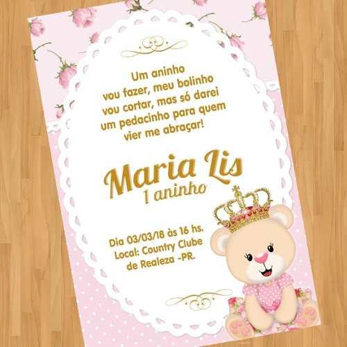 Arte Convite Digital Virtual Ursa Ursinha Princesa 02