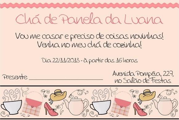 Arte Digital Convite Chá De Panela Cozinha