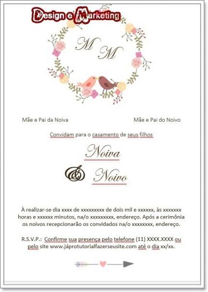 Arte Digital Convite De Casamento Mod Passaros Marsala