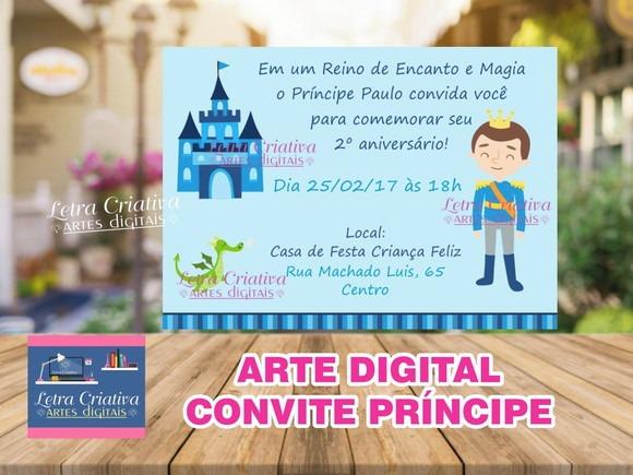 Arte Virtual Convite Festa Infantil Principe