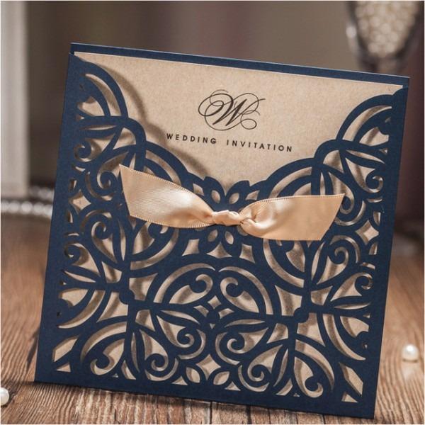 Azul Marinho Personalizado Impressão Dos Convites Do Casamento Com