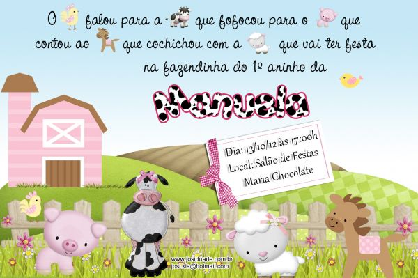 Convite Fazendinha Menina 10x15