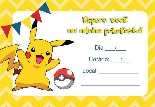 Convites Pokémon Imprimir Amarelo Pikachu
