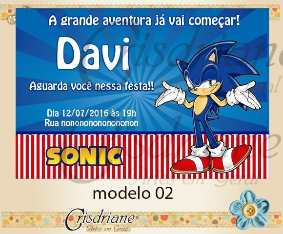 Convite Sonic No Elo7