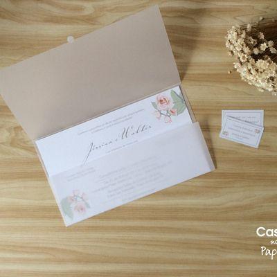 Convite De Casamento Translúcido Floral Jéssica