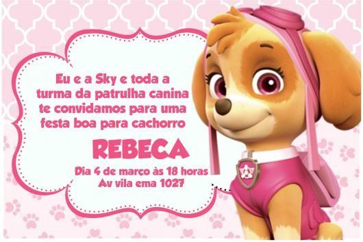 Convites Patrulha Canina Cartão Rosa Acsa