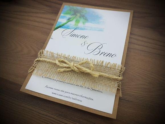 Convite De Casamento Rústico Na Praia