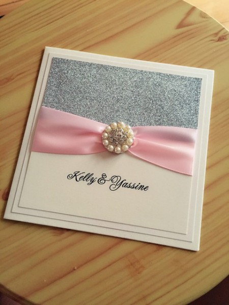 Ca0681 Personalizado Glitter Convites De Casamento Com Fita De