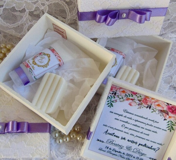 Caixa Convite Padrinhos Casamento Renda No Elo7