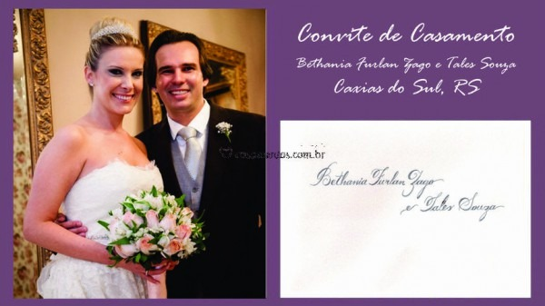 Convite  Bethania E Tales De Caligrafia De Convites