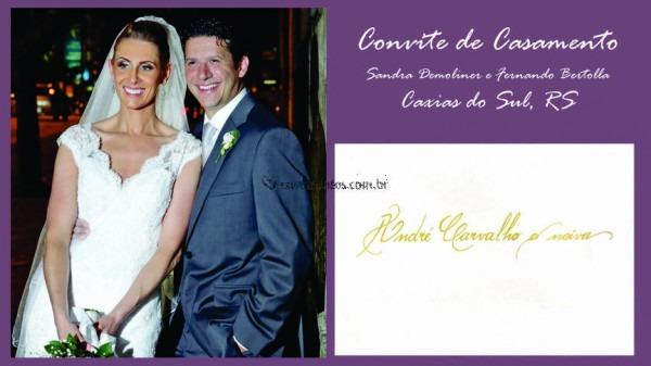 Convite  Sandra E Fernando De Caligrafia De Convites